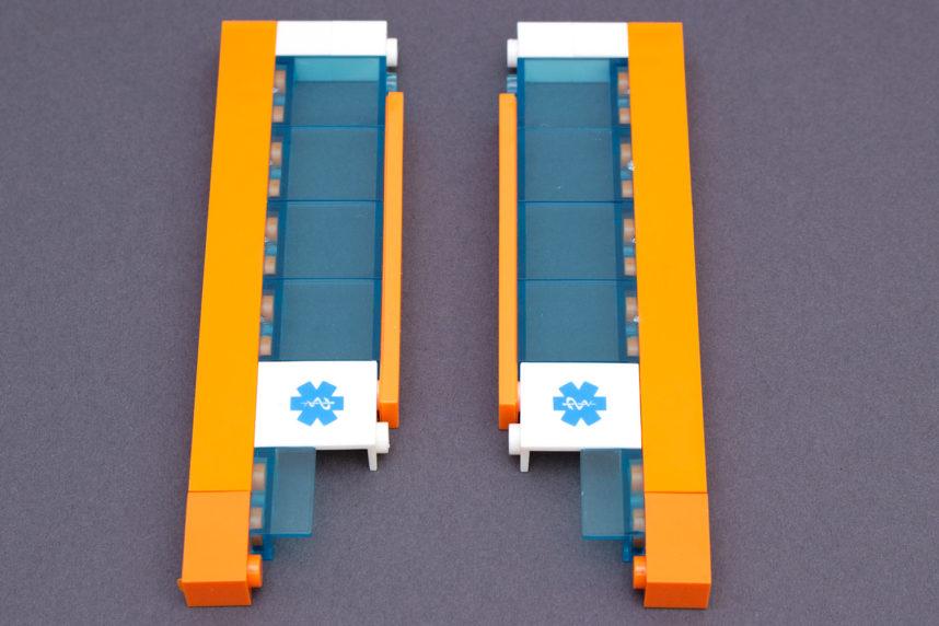 Bei den orangen 1x2-Bricks gibt es die einzige Farbabweichung im Set