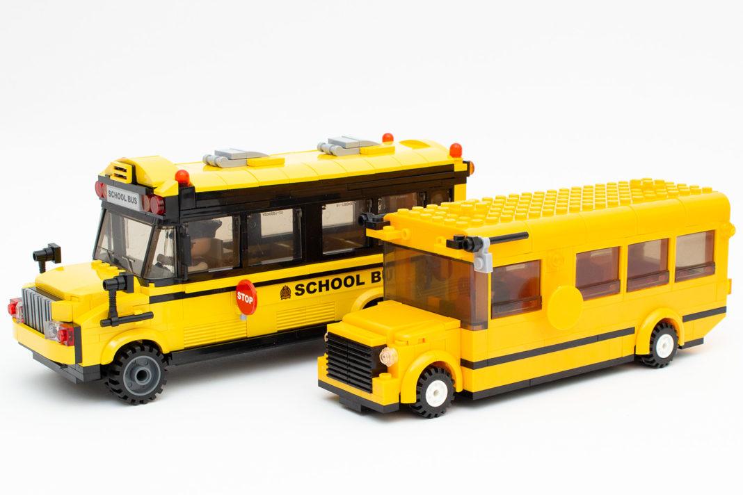Der Schulbus von Qman (hinten) und das, was vom Sluban-Pendant (vorne) übrig geblieben ist