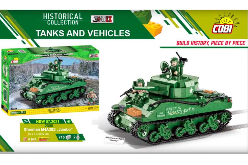 """Jetzt in seiner endgültigen Fassung - der Sherman M4A3E2 """"Jumbo"""" (© Cobi)"""