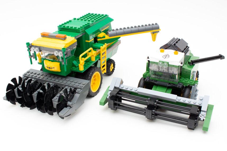 Der Mähdrescher von Blocki (links) und von Cobi (rechts) im im Vergleich