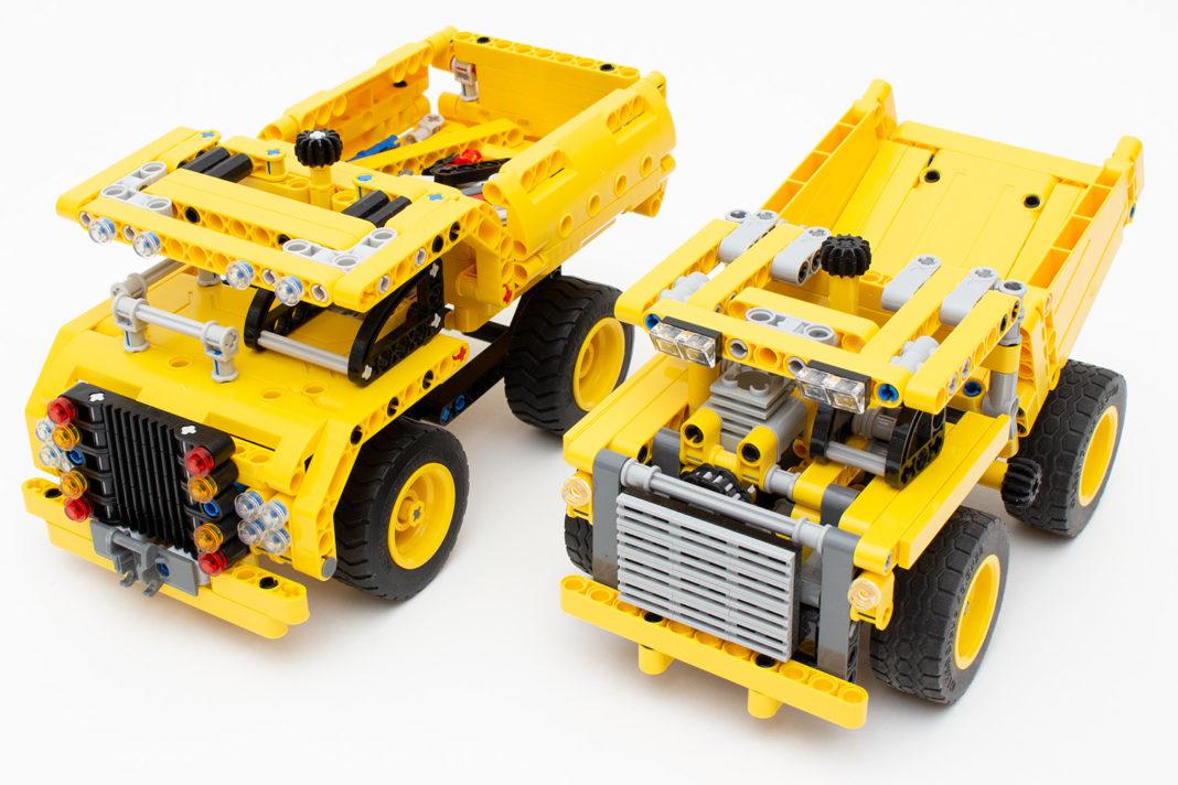 Der Vergleich des Muldenkipper von Qihui (links) mit dem Vertreter von Lego (rechts)