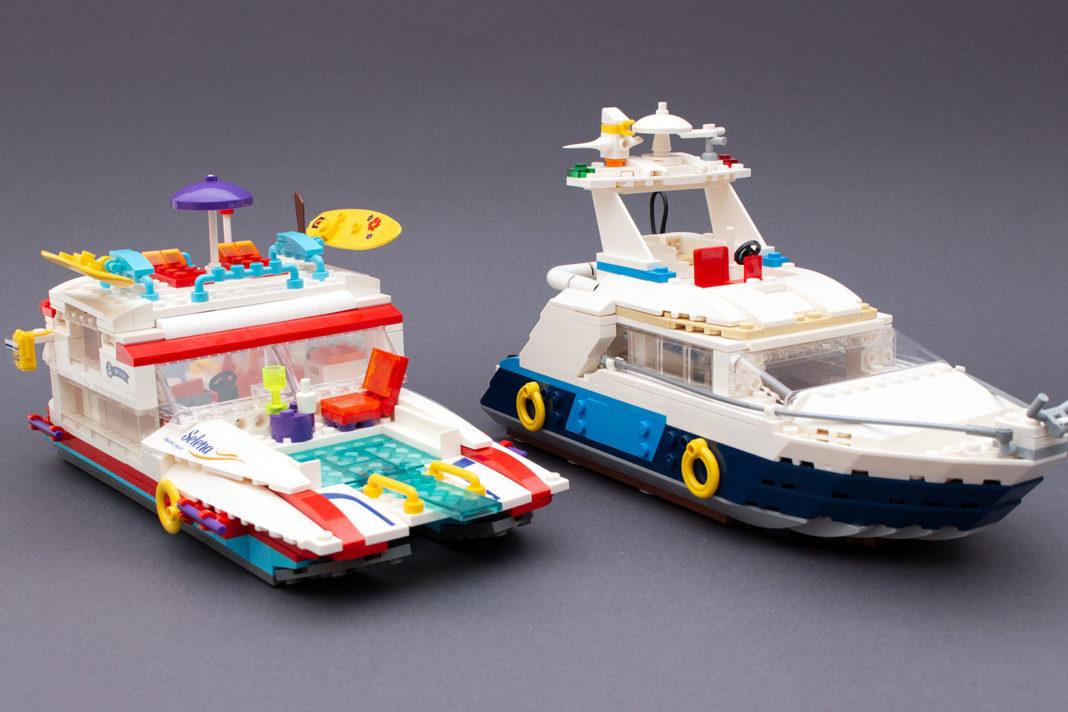 Der Vegleich zwischen der Party-Yacht von Blocki (Links) und der Creator-Yacht 31083 von Lego (rechts)